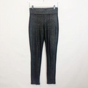 Zara Black Metallic Smoothing Pants Ankle Zip M